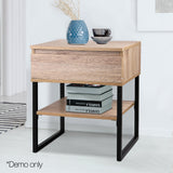 Artiss Chest Style Metal Bedside Table - b-organized