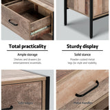 Artiss TV Stand Entertainment Unit Storage Cabinet Industrial Rustic Wooden 120cm - b-organized