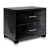 Artiss High Gloss Two Drawers Bedside Table - Black - b-organized