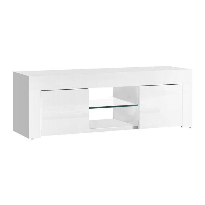 Artiss 130cm High Gloss TV Stand Entertainment Unit Storage Cabinet Tempered Glass Shelf White - b-organized