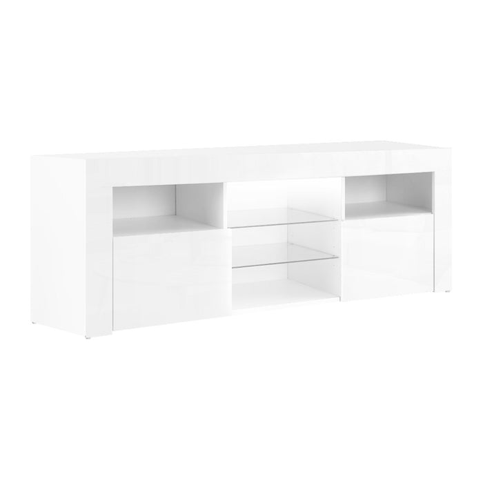 Artiss TV Cabinet Entertainment Unit Stand RGB LED Gloss Furniture 145cm White - b-organized