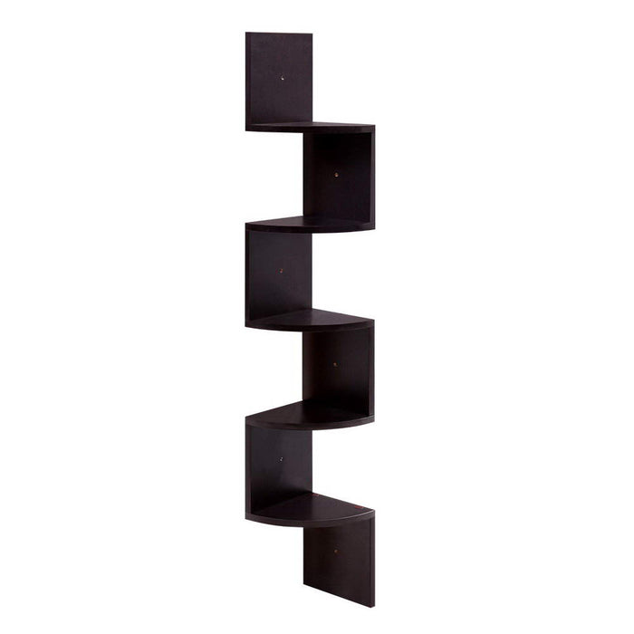 Artiss 5 Tier Corner Wall Floating Shelf Mount Display Bookshelf Rack Brown - b-organized