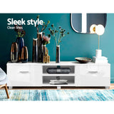 Artiss TV Cabinet Entertainment Unit Stand High Gloss Furniture Storage Drawers 140cm White - b-organized