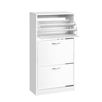 Artiss 3 Tier Shoe Cabinet - White - b-organized