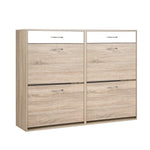Artiss 2 Tier Shoe Cabinet - Wood - b-organized