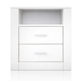 Artiss Anti-Scratch Bedside Table 2 Drawers - White - b-organized