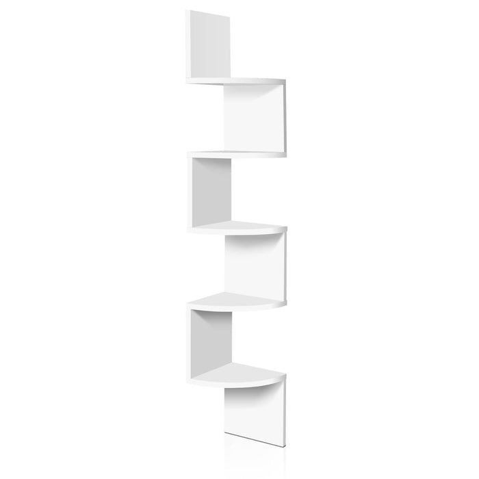 Artiss 5 Tier Corner Wall Shelf - White - b-organized