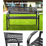 Gardeon Cast Iron Modern Garden Bench - Black