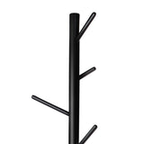 Artiss Wooden Clothes Stand with 6 Hooks - Black - b-organized