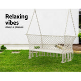 Gardeon Camping Hammock Chair Patio 2 Person Swing Hammocks Double Portable Cream