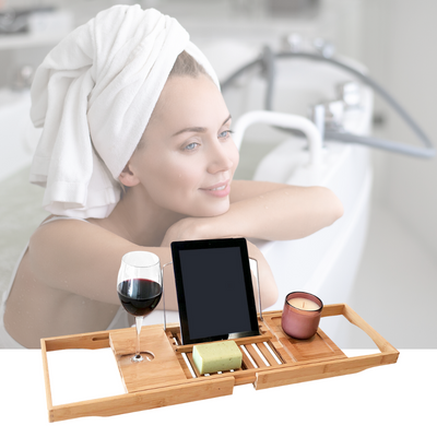 Butlers Banyan Bath Caddy  Natural - Perfect to relax with your favourite wine on hand - b-organized