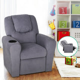 Artiss Kids Fabric Reclining Armchair - Grey - b-organized