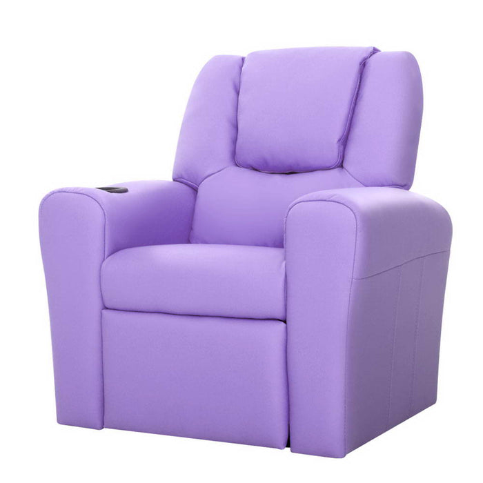 Artiss Kids PU Leather Reclining Armchair - Purple - b-organized