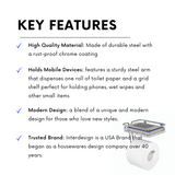 Interdesign Toilet Roll Holder With Shelf - Have A Convenient Place To Hold Your Phone - b-organized