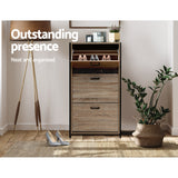 Artiss Shoe Cabinet Shoes Storage Rack Wooden Organiser Up to 24 Pairs Shelf Cupboard Metal Frame