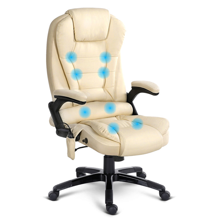 8 Point PU Leather Reclining Massage Chair - Beige - b-organized