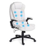 8 Point PU Leather Reclining Massage Chair - White - b-organized