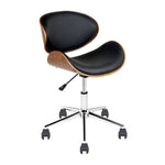 Wooden & PU Leather Office Desk Chair - Black - b-organized