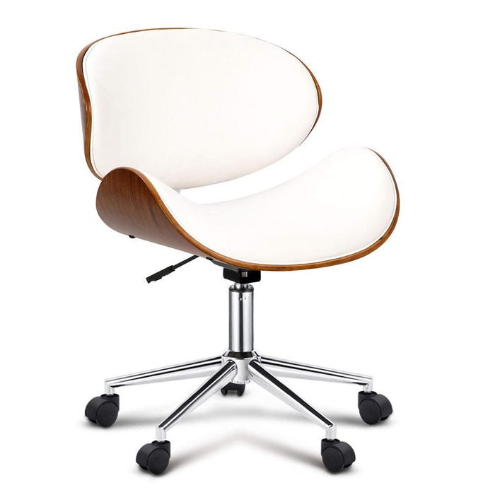 Artiss Wooden & PU Leather Office Desk Chair - White - b-organized