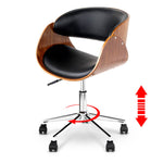 Artiss Wooden & PU Leather Office Desk Chair - Black - b-organized
