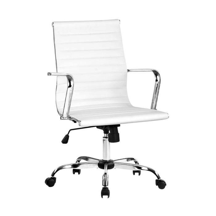Eames Replica Office Chair Executive Mid Back Seating PU Leather White
