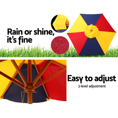 Keezi Kids Wooden Picnic Table Set with Umbrella - b-organized