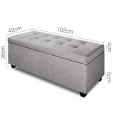 Artiss Large Fabric Storage Ottoman - Light Grey - b-organized