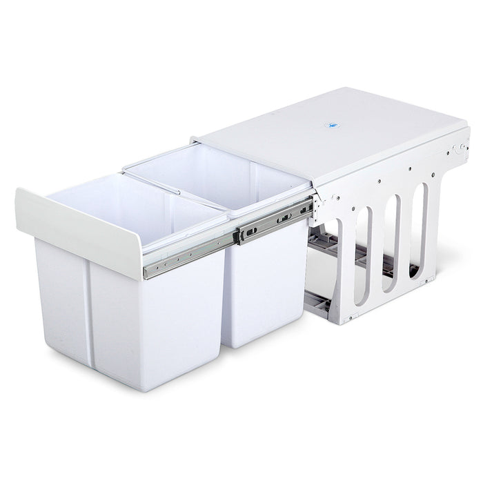 Set of 2 15L Twin Pull Out Bins - White - b-organized