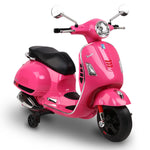 Rigo Kids Ride On Motorbike Vespa Licensed Motorcycle Car Toys Pink - b-organized