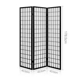 Artiss 3 Panel Wooden Room Divider - Black - b-organized