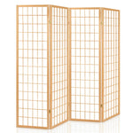 Artiss 4 Panel Wooden Room Divider - Natural - b-organized