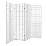 Artiss 4 Panel Wooden Room Divider - White - b-organized