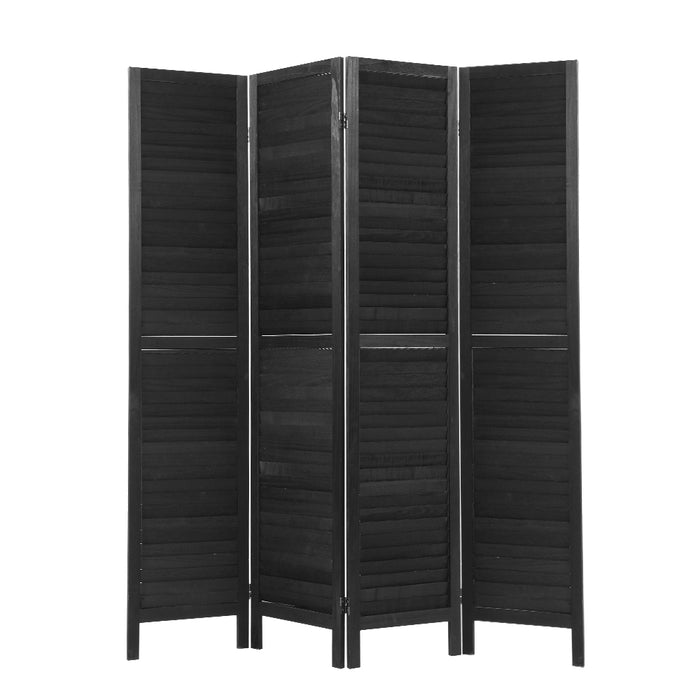 Artiss 4 Panel Room Divider Screen Privacy Wood Dividers Timber Stand Black