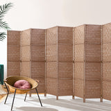 Artiss 8 Panel Room Divider Screen Privacy Rattan Timber Foldable Dividers Stand Hand Woven
