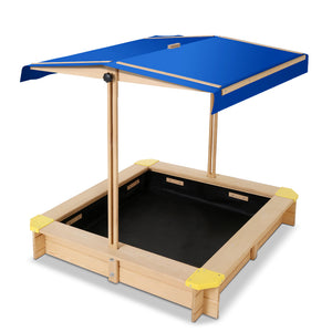 Keezi Wooden Outdoor Sand Box Set - Natural Wood