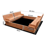 Keezi Wooden Outdoor Sandpit Set - Natural Wood - b-organized