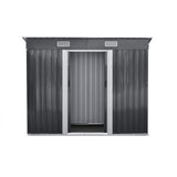 Giantz 2.38 x 1.31m Steel Garden Shed - Grey - b-organized
