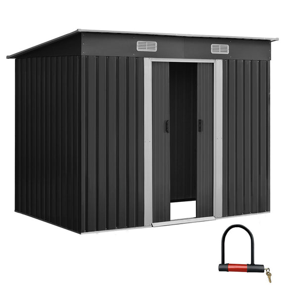 Giantz 2.35 x 1.31m Steel Garden Shed - Grey