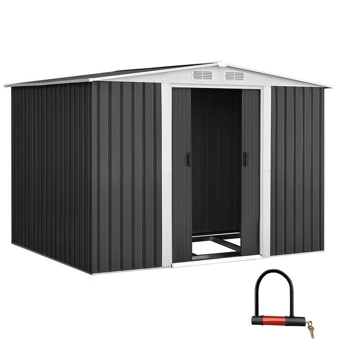 Giantz 2.05 x 2.57m Steel Base Garden Shed - Grey - b-organized
