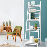 Artiss Display Shelf 5 Tier Wooden Ladder Stand Storage Book Shelves Rack White