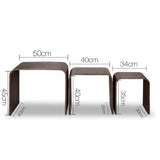 Artiss Set of 3 Wooden Coffee Table - Walnut - b-organized