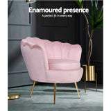 Artiss Armchair Lounge Chair Accent Armchairs Retro Single Sofa Velvet Pink