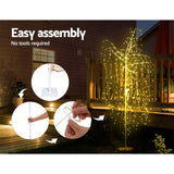 Jingle Jollys 2.1M LED Christmas Willow Tree 600 LED Xmas Warm White Optic Fiber - b-organized
