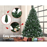 Jingle Jollys 7FT Christmas Snow Tree - Green - b-organized