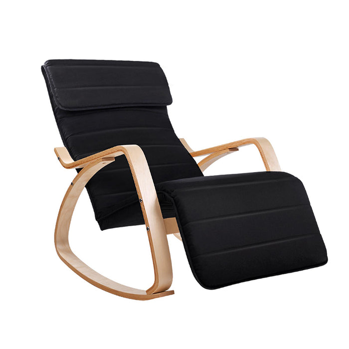 Artiss Fabric Rocking Armchair with Adjustable Footrest - Black - b-organized