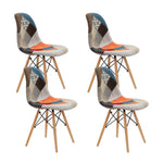 Artiss Set of 4 Retro Beech Fabric Dining Chair - Multi Colour - b-organized