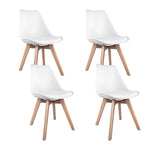Artiss Set of 4 Padded Dining Chair - White - b-organized