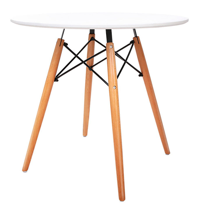Artiss Round Wooden Dining Table - White - b-organized