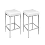 Artiss Set of 2 PU Leather Backless Bar Stools - White - b-organized