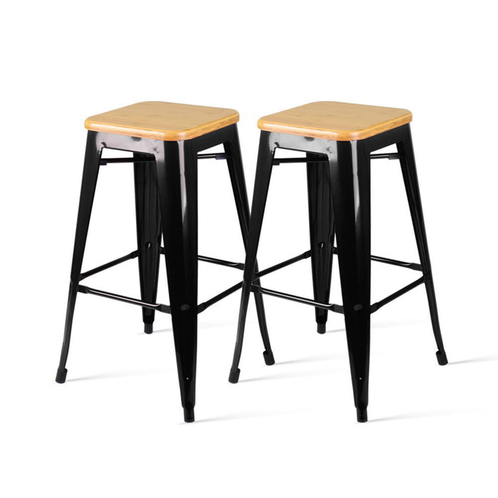Artiss Set of 2 Wooden Backless Bar Stools- Black - b-organized